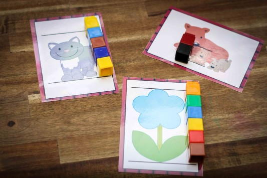 Preschool on the Farm theme unifix cubes measurement