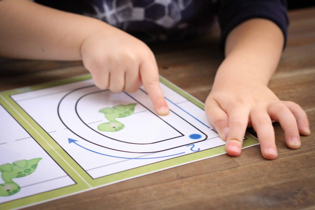 Preschool Letter D - finger tracing on play dough mats
