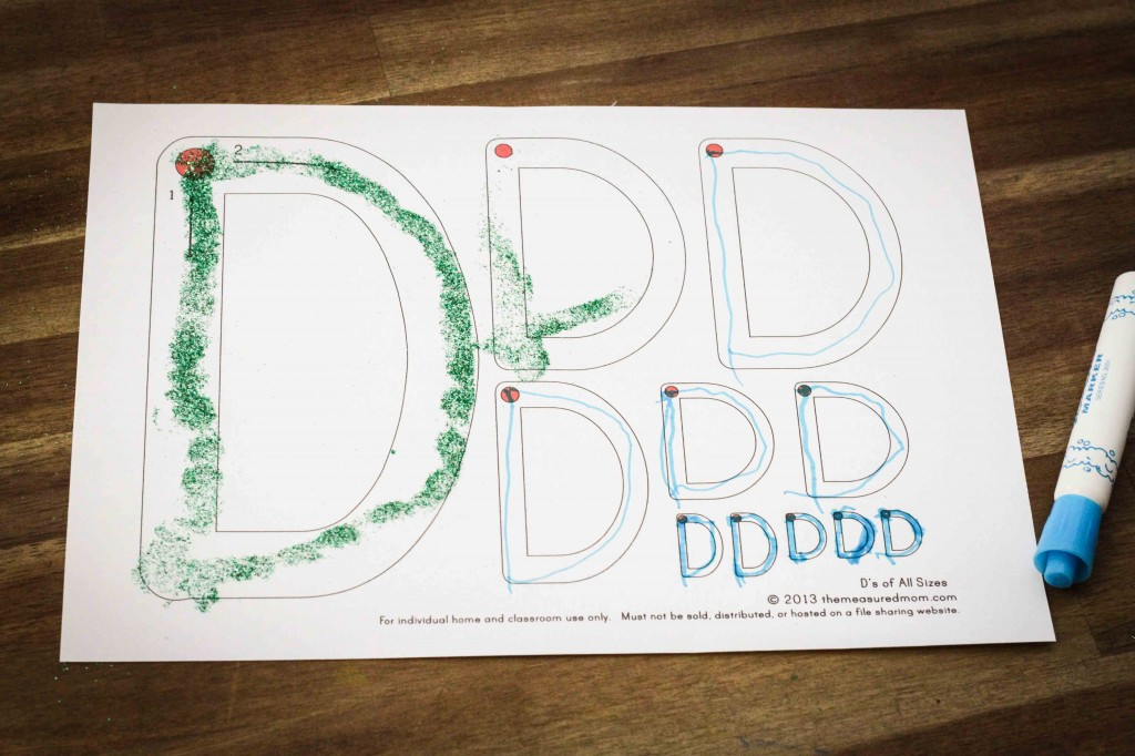 Preschool Letter of the Week D tracing