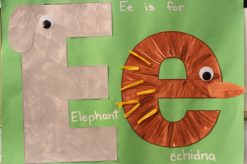 Preschool Letter of the Week E craft elephant and echidna