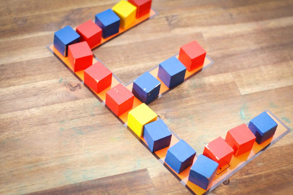 Preschool Letter of the Week E building with cubes