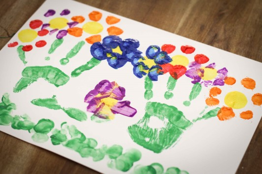 Letter of the Week F Flower Handprint Painting Activity