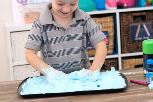 Letter of the Week F Sensory shaving cream play