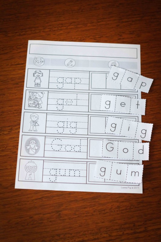 Preschool Letter of the Week G CVC word work page
