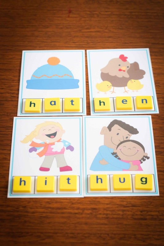 Preschool Letter H CVC build a word cards
