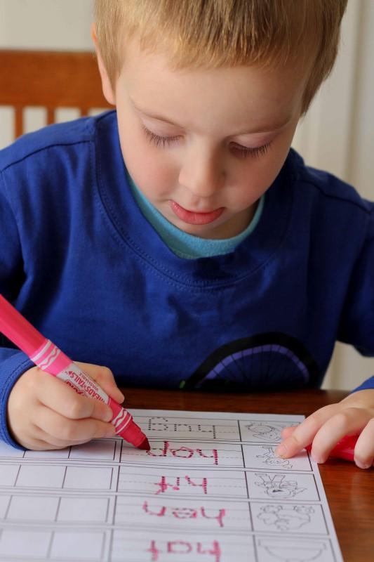 Preschool Letter H CVC tracing