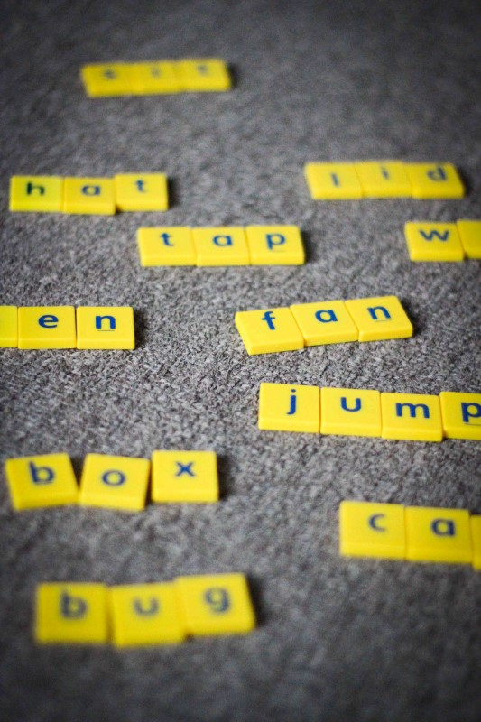 Word Work in Prep / Kindergarten Building CVC words with Scrabble letter tiles