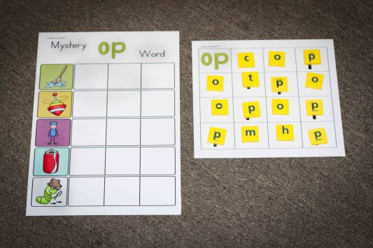 Word Work in Prep / Kindergarten Mystery CVC words with Scrabble letter tiles