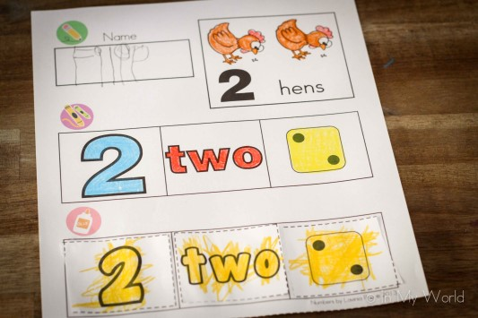 Preschool Letter J Numbers cut ans paste