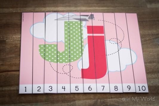 Preschool Letter J Alphabet Number Puzzles