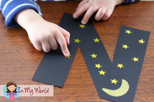 In My World Letter N Craft - night and numbers