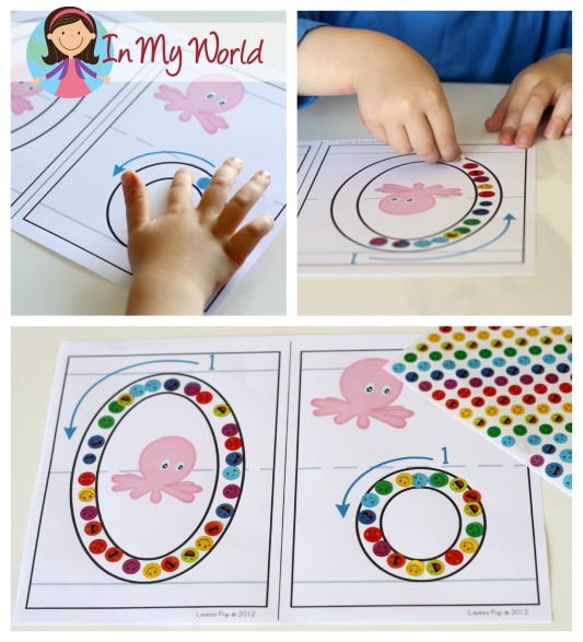 Preschool Letter O Alphabet Play Dough Mats. Use stickers as you follow the arrows to correctly form the letters!
