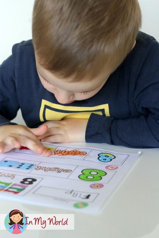 Preschool Number 8 Cut and paste