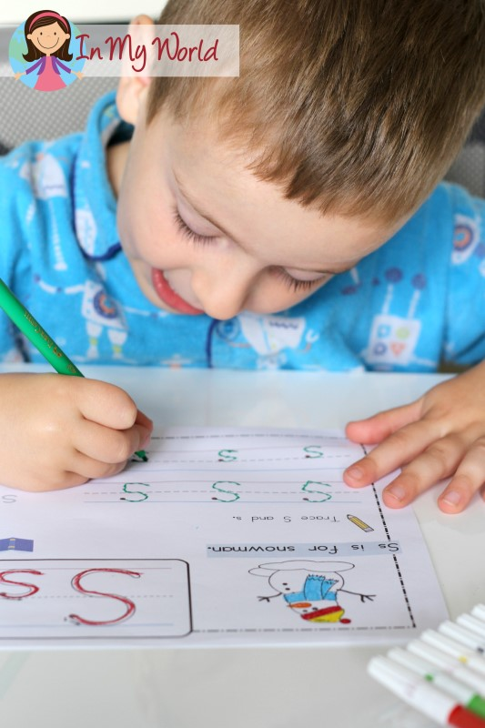 Preschool Letter S FREE alphabet and CVC words worksheet