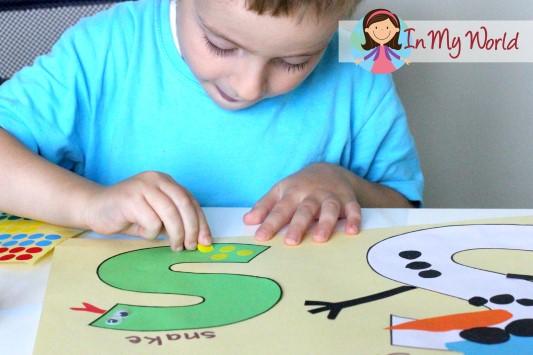 Preschool Letter S Craft - snowman / snake