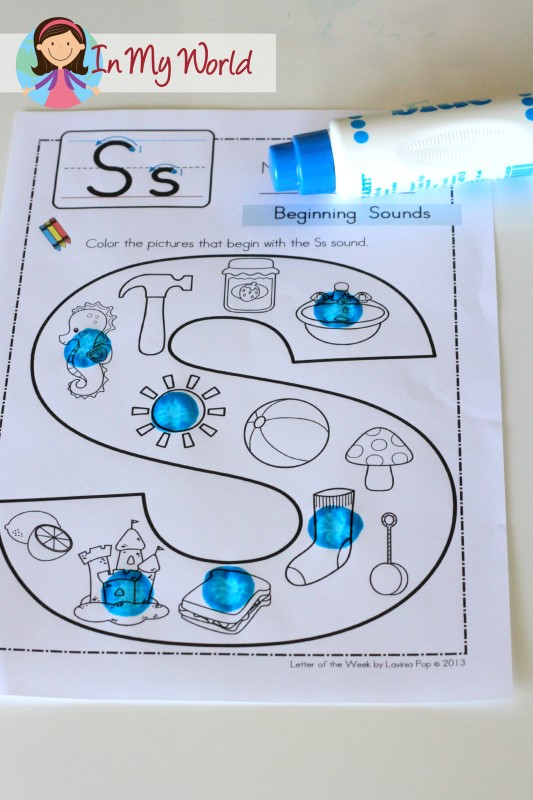 Preschool Letter S FREE Beginning Sounds page