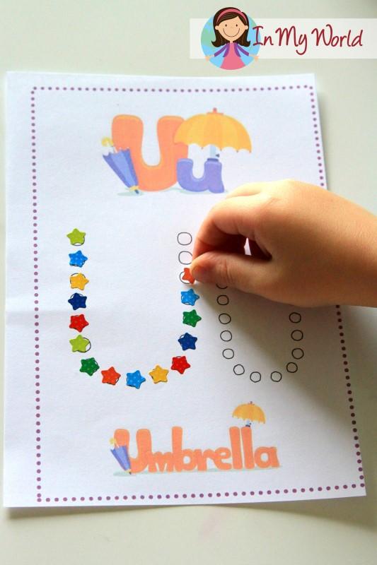 Preschool letter u in my world free letter u fine motor activity with stickers spiritdancerdesigns Choice Image