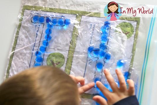 Preschool Letter T Alphabet Play Dough Mat with gel beads