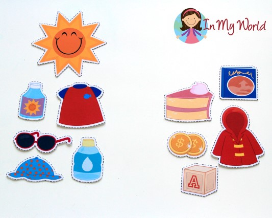 Preschool Sun Safety sorting activity