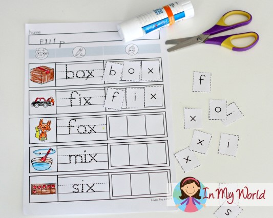 Preschool Letter X CVC cut and paste FREE
