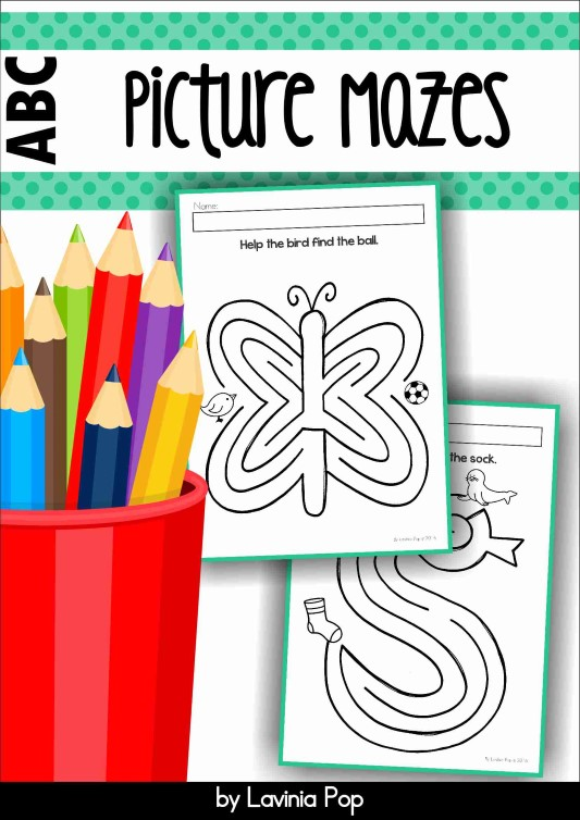 Alphabet Mazes for developing pencil control