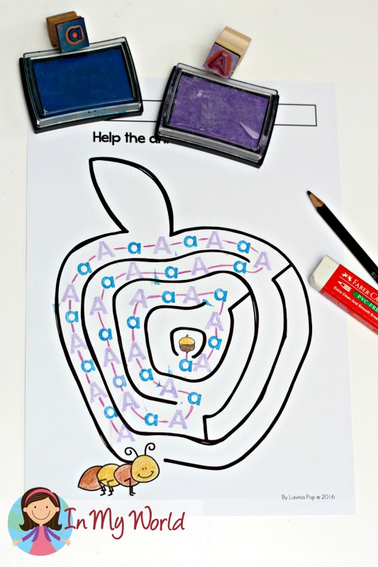 Free Alphabet Picture Maze Apple