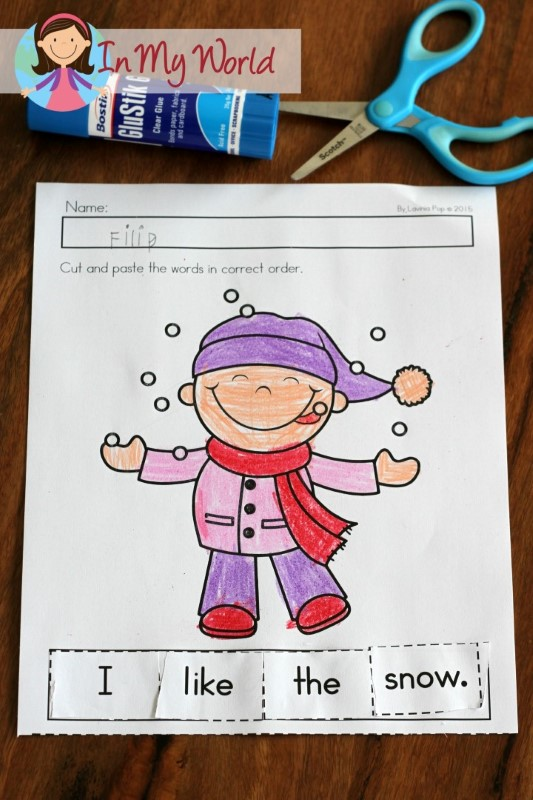 Preschool Winter Activities Sight word sentence cut and paste
