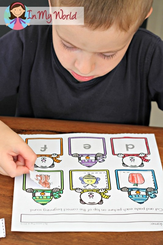 Preschool Winter Activities Beginning Sounds cut and paste