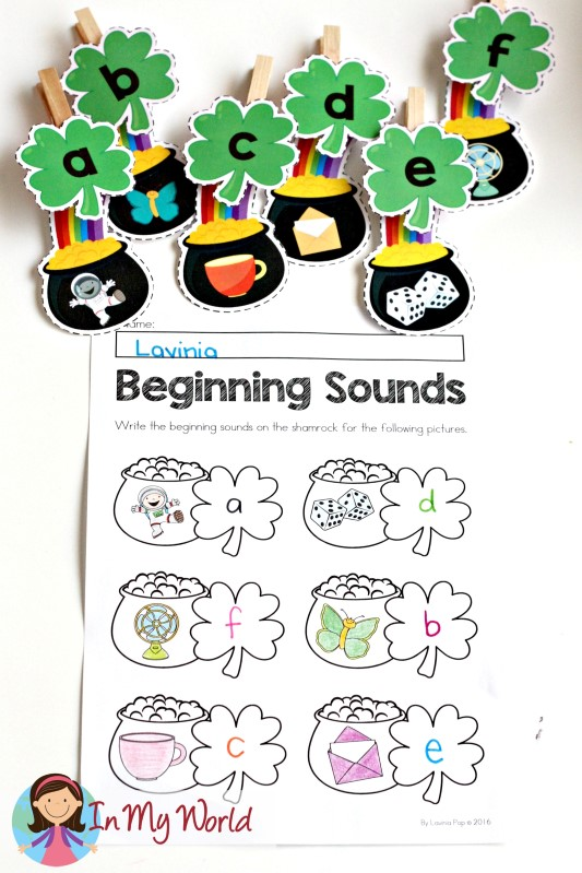 FREE St. Patrick's Day Beginning Sounds worksheets