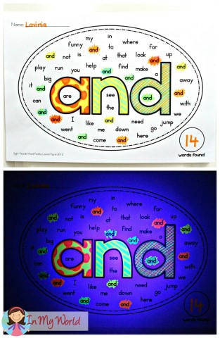 Glow in the drak sight words word search