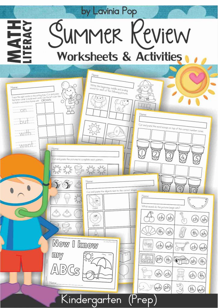 Worksheets and Activities - SUMMER Math and Literacy Review for Kindergarten
