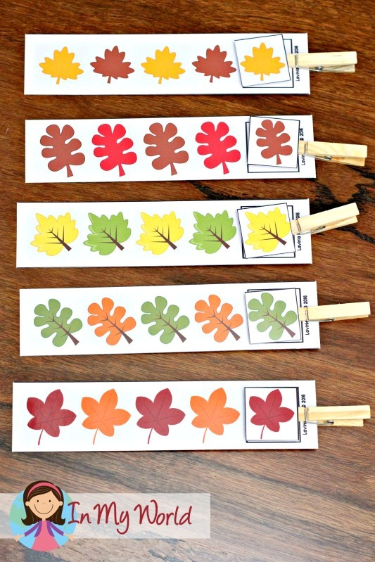 Autumn / Fall Preschool Centersa leaf patterns