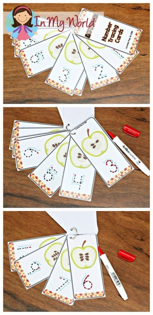 FREE Autumn / Fall Preschool Centers apple number tracing cards