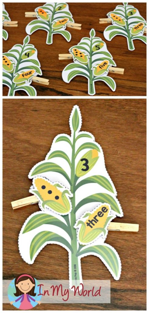 FREE Preschool Thanksgiving Centers Corn number sorting activity