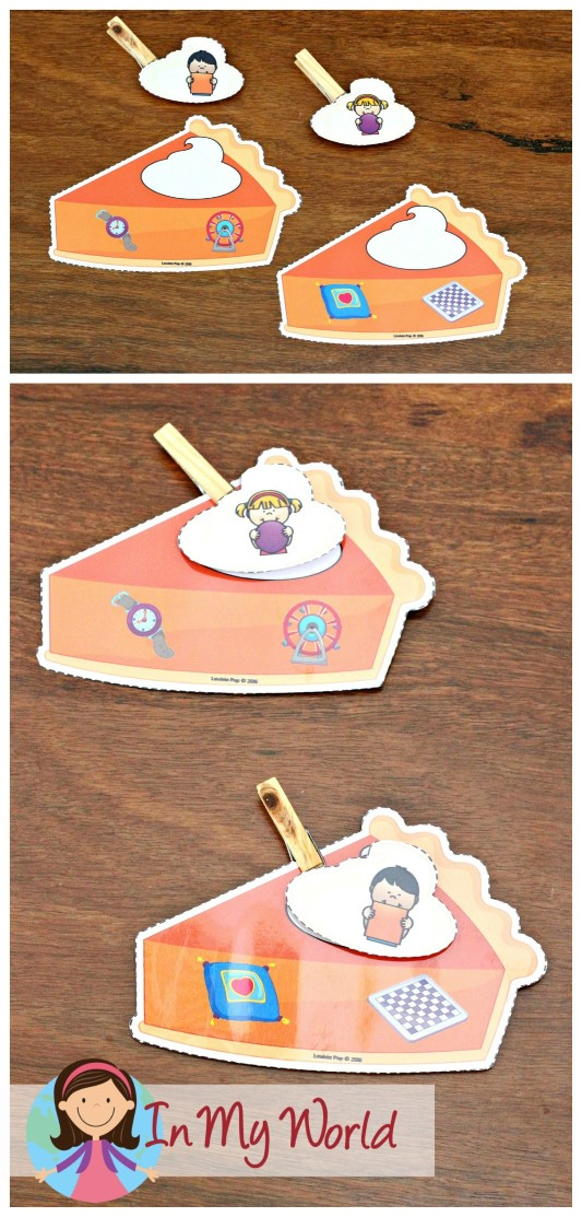 FREE Preschool Thanksgiving Centers Pumpkin pie shape matching activity