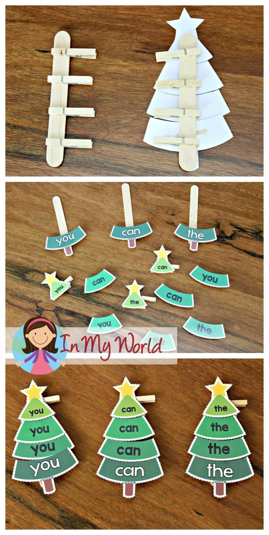 FREE Christmas Preschool Centers Sight words Christmas trees