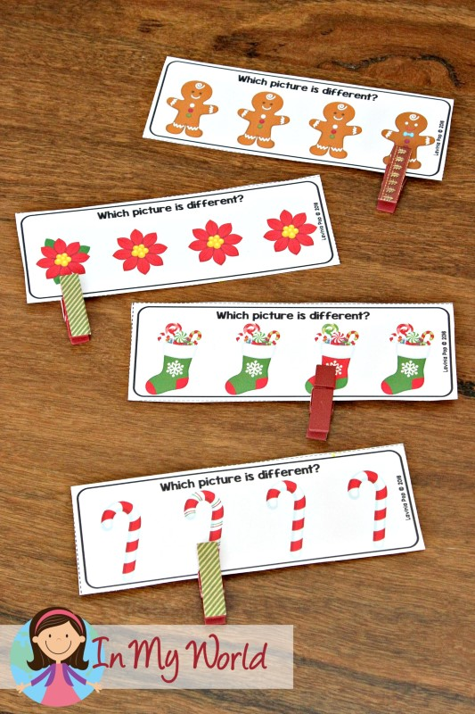 Christmas Preschool Centers Which picture is different