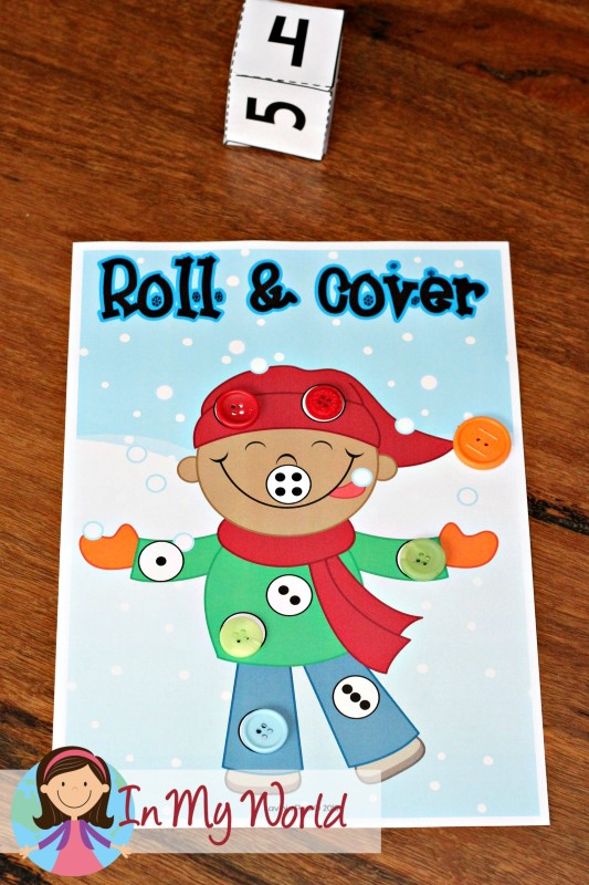 FREE Winter Preschool Center Activities: Roll and Cover number sense building activity