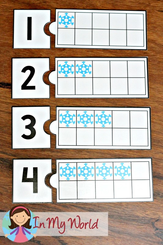FREE Winter Preschool Center Activities: Snowflake ten frame and number matching puzzle