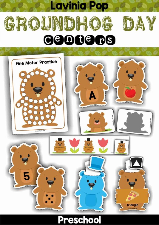 FREE Groundhog Day Preschool Center Activities