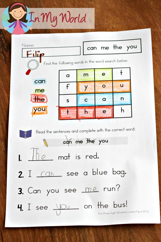 FREE Sight Words Word Work Page