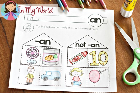 FREE -an Word Family Cut and Paste Sorting Activity