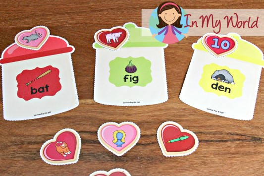 FREE Preschool Valentine's Day Centers Rhyming cookie jars sorting activity
