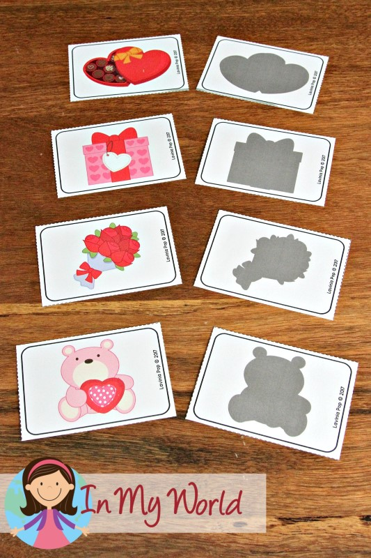 Preschool Valentine's Day Centers shadow matching activity