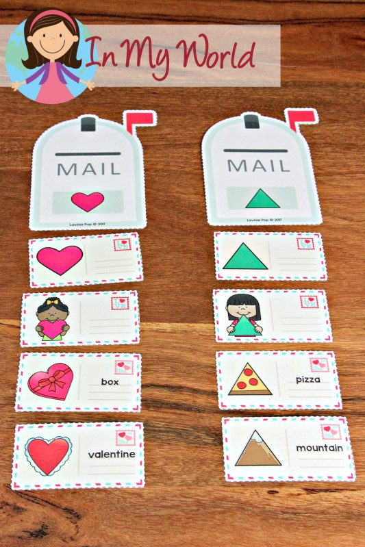 FREE Preschool Valentine's Day Centers Shape sorting activity