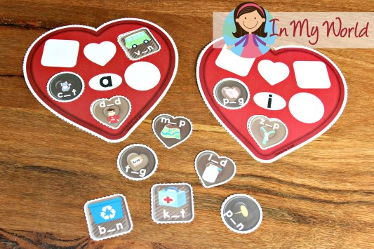 FREE Preschool Valentine's Day Centers Sort the chocolate by middle sound (CVC words)
