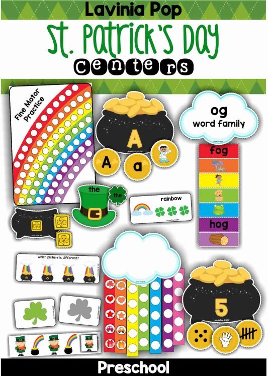 FREE St. Patrick's Day Preschool Centers