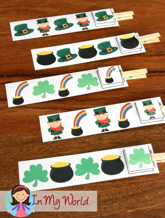 FREE St. Patrick's Day Preschool Centers AB Pattern cards