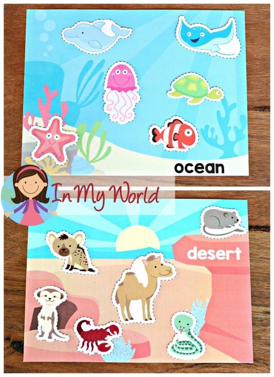 Ocean Preschool Centers animal habitat sorting activity