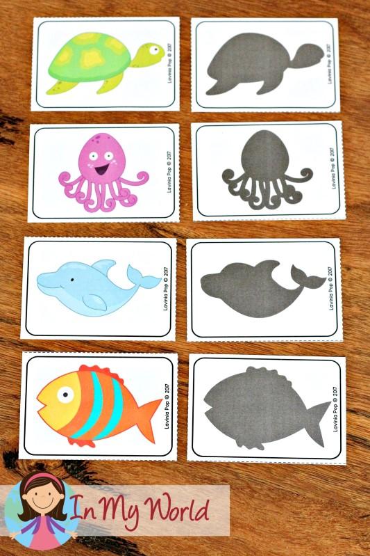 FREE Ocean Preschool Centers shadow matching cards